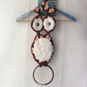 Vintage Crochet Brown White Owl Home Decor OS